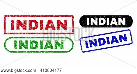 Indian Grunge Watermarks. Flat Vector Grunge Watermarks With Indian Caption Inside Different Rectang