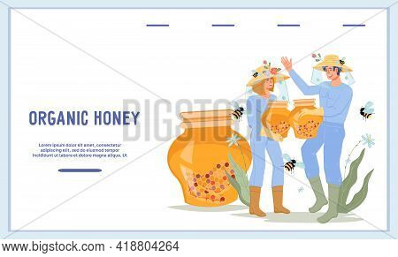 Website Banner For Sale Of Apiary And Honey Products With Beekeepers. Extraction Of Honey And Beekee