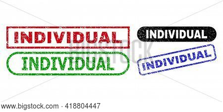 Individual Grunge Watermarks. Flat Vector Distress Seals With Individual Title Inside Different Rect