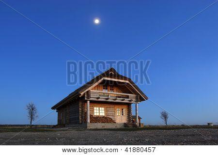 Log Cabin On Coastal Meadow