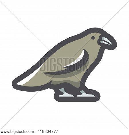 Black Raven Crow Vector Icon Cartoon Illustration
