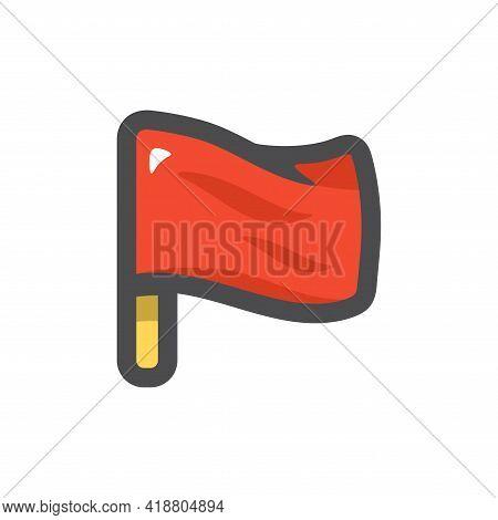Red Flag Simple Vector Icon Cartoon Illustration