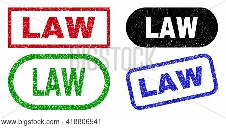 Law Grunge Watermarks. Flat Vector Distress Watermarks With Law Title Inside Different Rectangle And