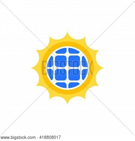 Solar Energy Logo, Sun And Solar Panel Icon