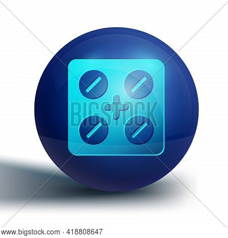 Blue Pills In Blister Pack Icon Isolated On White Background. Medical Drug Package For Tablet, Vitam