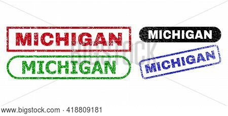 Michigan Grunge Watermarks. Flat Vector Scratched Watermarks With Michigan Tag Inside Different Rect