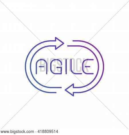 Agile Process Line Icon On White, Vector