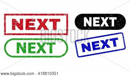 Next Grunge Watermarks. Flat Vector Grunge Watermarks With Next Slogan Inside Different Rectangle An