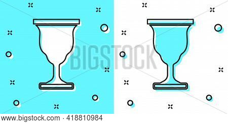 Black Line Christian Chalice Icon Isolated On Green And White Background. Christianity Icon. Happy E