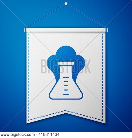 Blue Chemical Experiment, Explosion In The Flask Icon Isolated On Blue Background. Chemical Explosio