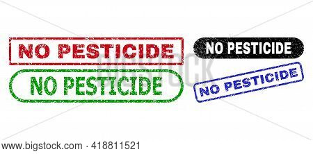 No Pesticide Grunge Stamps. Flat Vector Grunge Seal Stamps With No Pesticide Phrase Inside Different
