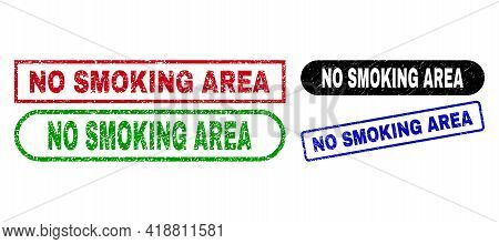 No Smoking Area Grunge Watermarks. Flat Vector Scratched Watermarks With No Smoking Area Message Ins