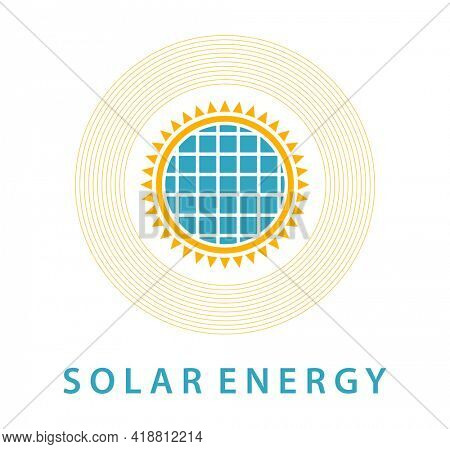 Solar energy icon isolated on white. Sun with solar panel emblem.