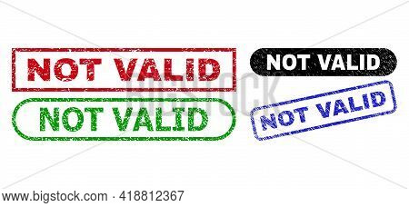 Not Valid Grunge Seals. Flat Vector Grunge Seals With Not Valid Text Inside Different Rectangle And