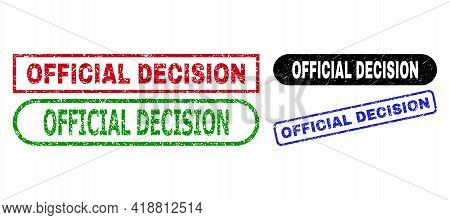 Official Decision Grunge Stamps. Flat Vector Grunge Seal Stamps With Official Decision Message Insid