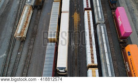 Nampa, Idaho - April 4th, 2021: Aerial Shot Of Train Carsat The Depot Waitint To Move To Deliver The