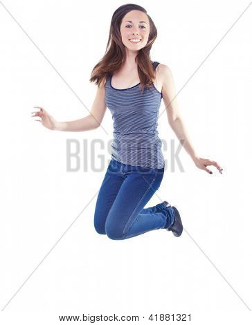 Beautiful Woman Jumping In Joy On White Background