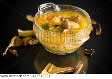 Vegetarian Vegetable Soup With Porcini Mushrooms In A Glass Bowl