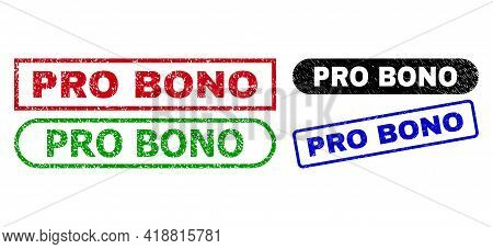 Pro Bono Grunge Seal Stamps. Flat Vector Grunge Stamps With Pro Bono Caption Inside Different Rectan