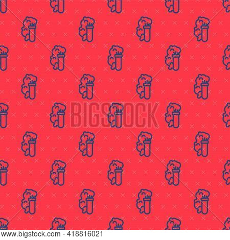 Blue Line Chemical Experiment, Explosion In The Flask Icon Isolated Seamless Pattern On Red Backgrou