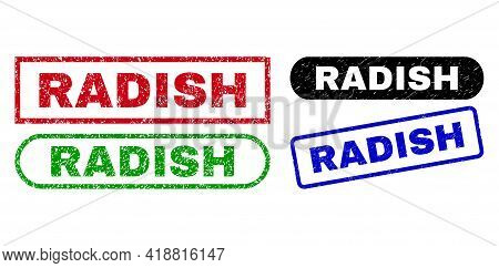 Radish Grunge Seal Stamps. Flat Vector Grunge Stamps With Radish Slogan Inside Different Rectangle A