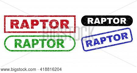 Raptor Grunge Stamps. Flat Vector Grunge Seal Stamps With Raptor Tag Inside Different Rectangle And