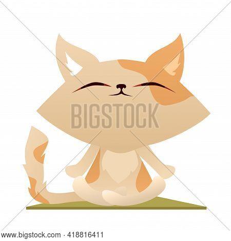 Cute Cartoon Cat Meditating In Lotus Pose On Yoga Mat
