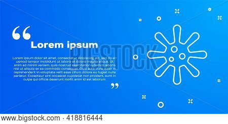 White Line Bacteria Icon Isolated On Blue Background. Bacteria And Germs, Microorganism Disease Caus