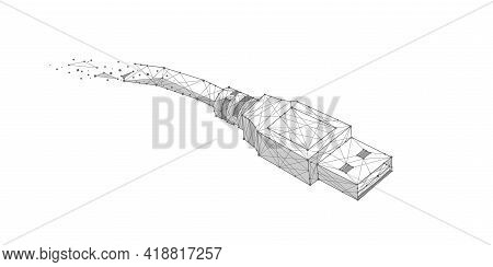 Usb Data Cable .technological Concept .computer Wire.polygonal Lines And Points.vector