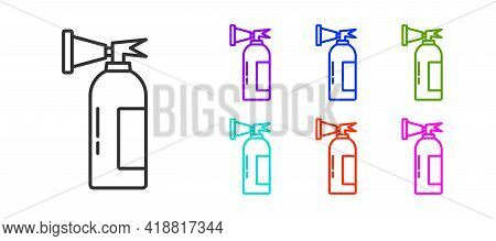 Black Line Fire Extinguisher Icon Isolated On White Background. Set Icons Colorful. Vector