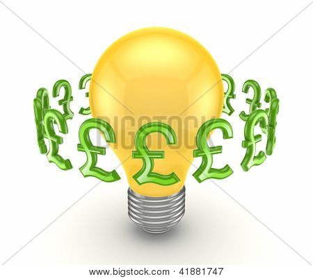 Pound sterling signs around yellow lamp.