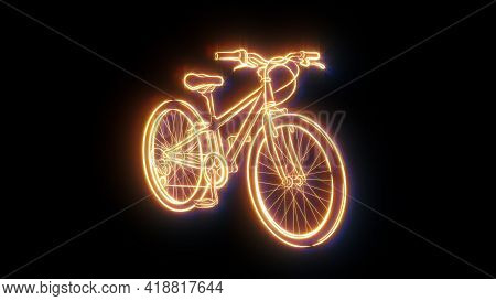 Neon Bike.sport Bicycle .healthy Lifestyle.healthy Lifestyle.illustration .