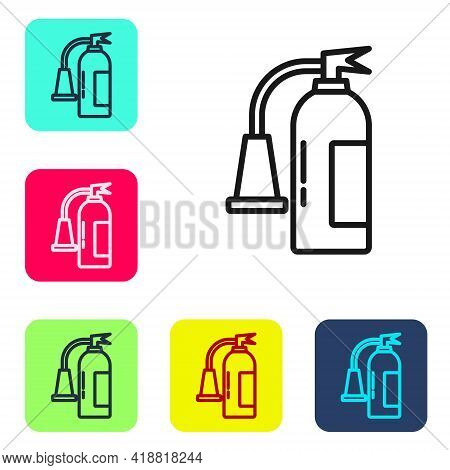 Black Line Fire Extinguisher Icon Isolated On White Background. Set Icons In Color Square Buttons. V