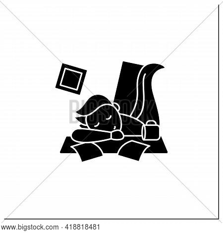 Mess Glyph Icon. Chaos In House. Laziness. Person Sleep On Desk. Procrastination Concept. Filled Fla
