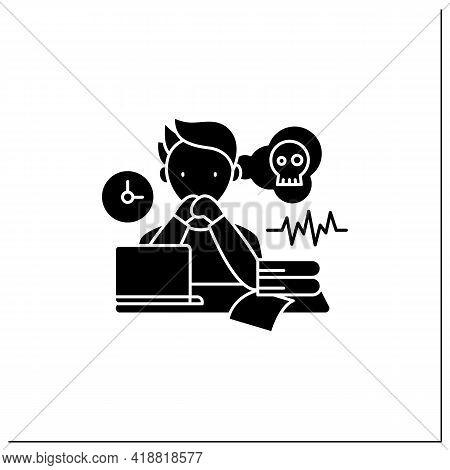 Worrier Procrastinator Glyph Icon.do Not Start Important, Difficult Tasks. Unbelieve To Do It.scared