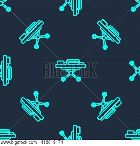 Green Line Stretcher Icon Isolated Seamless Pattern On Blue Background. Patient Hospital Medical Str