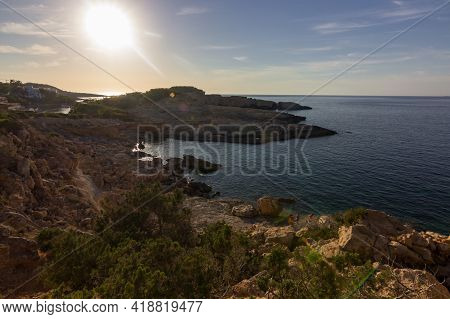 Sunset From Moscarter Lighthouse In Ibiza (spain)