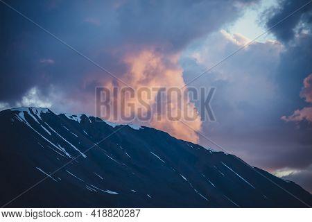 Atmospheric Minimal Mountain Scenery With Lilac Dawn Sky. Scenic Minimalist Landscape With Purple Su