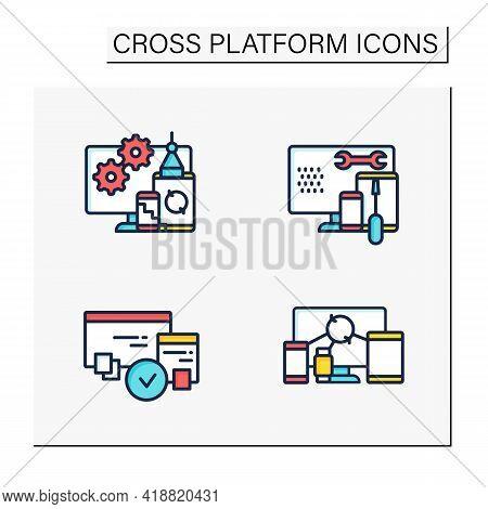 Cross Platform Color Icons Set. Programming Environment. Development, Coding Toolkit, Compatibility,