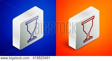 Isometric Line Christian Chalice Icon Isolated On Blue And Orange Background. Christianity Icon. Hap