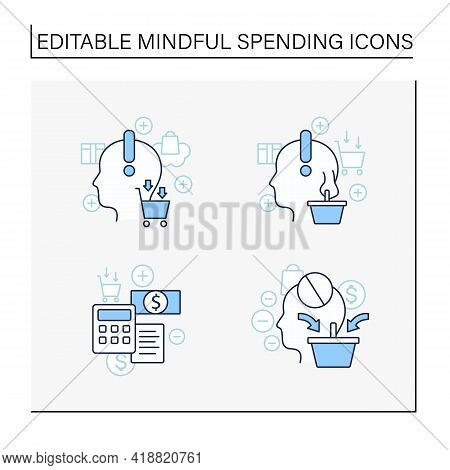 Mindful Spendings Line Icons Set. Bugeting, Conscious Consumption. Buying Fewer Concepts. Isolated V