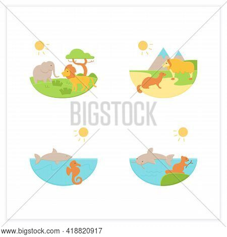Biodiversity Flat Icons Set. Consists Of Desert, Savana, Tundra, Freshwater, Marine Ecosystems. Biod
