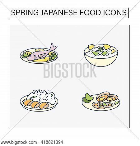 Japanese Food Color Icons. Spring Delicates. Asari Clams, Spring Cabbage, Takenoko, Tai. Tradition M