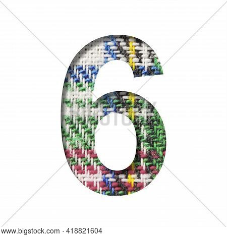 Font On Scottish Fabric. Digit Six, 6 Cut Out Of Paper On A Textured Pattern Of Real Scottish Fabric