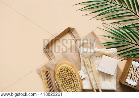 Eco-friendly Shopping, Conscious Consumption Lifestyle. Zero Waste Concept. Natural Soap, Washcloth,
