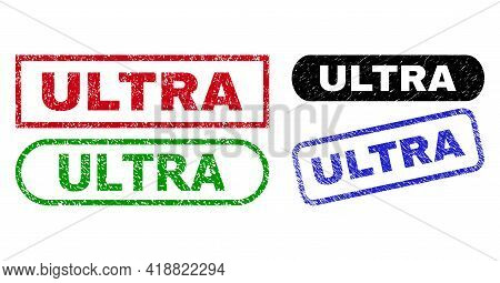 Ultra Grunge Watermarks. Flat Vector Distress Watermarks With Ultra Tag Inside Different Rectangle A