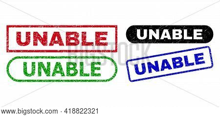 Unable Grunge Seal Stamps. Flat Vector Scratched Seal Stamps With Unable Title Inside Different Rect