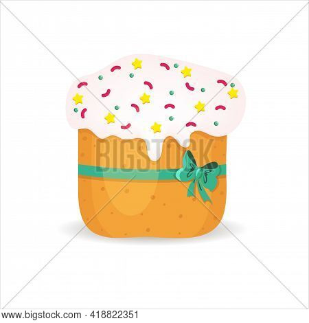Colorful Vector Illustration Of Easter Cake With White Icing And Colored Decoration.