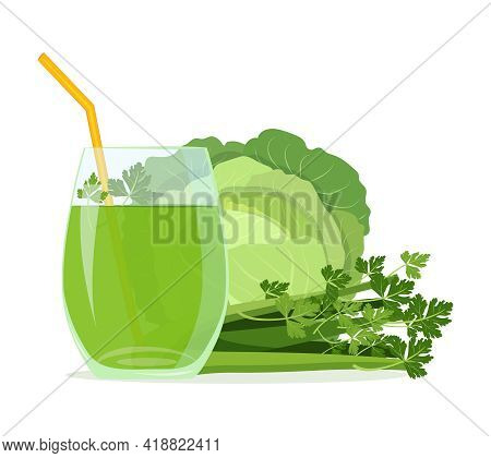 Vector Illustration Of Vegetable Juice From Cabbage And Celery In A Glass.