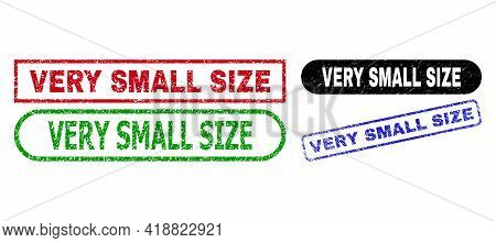 Very Small Size Grunge Seals. Flat Vector Grunge Seals With Very Small Size Text Inside Different Re